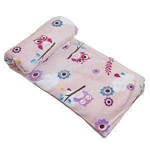 Cobertor Bebe Microfibra Prime 110 x 150cm Coruja Rosa