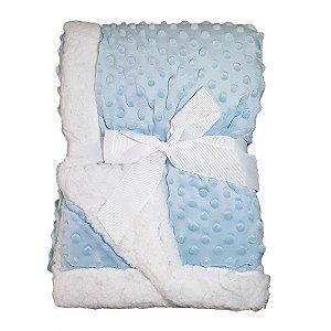 Manta Bebe Cobertor Soft Microfibra Com Sherpa Relevo Azul