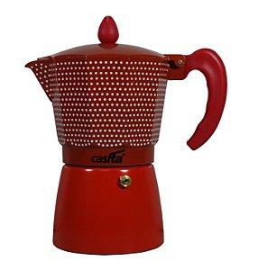 Cafeteira Tipo Italiana Vermelha com Bolinhas P/ 6 xícaras - 300ml