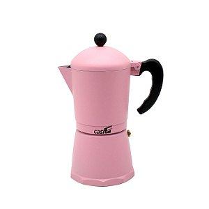 Cafeteira Tipo Italiana de Alumínio Rosa P/ 6 xícaras - 300ml