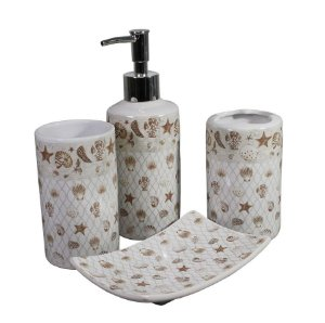 Kit para Banheiro em Porcelana Conchinhas C/ 4 peças