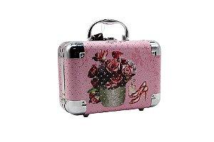 Maleta de Alumínio Vaso de Flores Rosa