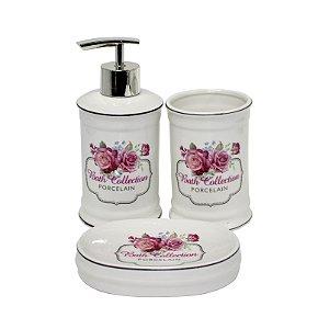 Jogo de Banheiro Porcelana Rosas