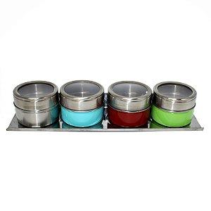 Porta Temperos Magnético em Inox Colorido