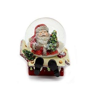 Enfeite Decorativo Snowball Papai Noel Casinha 9cm