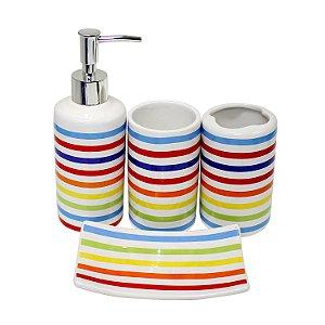 Kit Banheiro Colorido 4 Peças