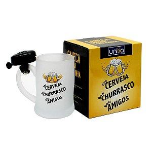 """Caneca com Campainha """"Boa Cerveja, Bom Churrasco, Bons Amigos"""""""