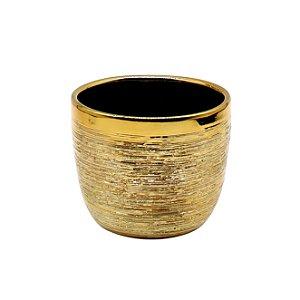 Vaso Cerâmica Cachepot Dourado