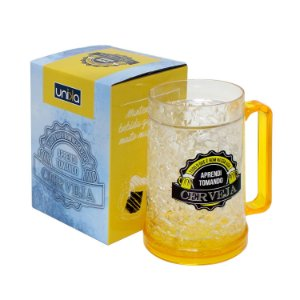 "Caneca Gel Chopp ""Aprendi..."" 400ml"