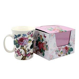 Caneca de Porcelana Flores