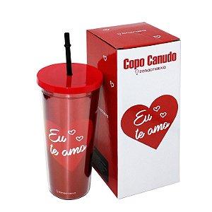 """Copo com Canudo """"Eu te Amo"""" 650ml"""
