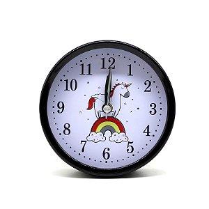 Relógio Despertador Unicórnio Redondo