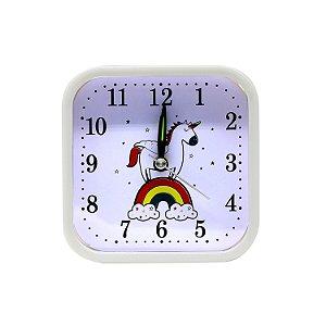 Relógio Despertador Unicórnio Quadrado