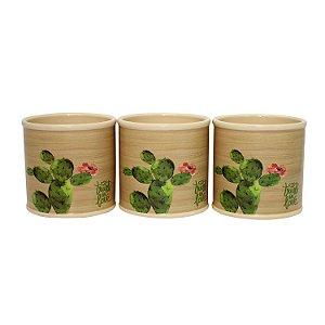 Cachepot Redondo de Cerâmica Deset Cactus 10cm - 1 Peça