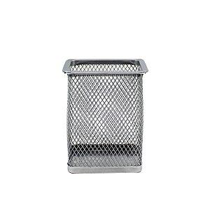 Porta Caneta de Metal Telado Quadrado 10cm
