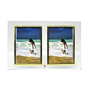 Porta Retrato de Vidro 2 Fotos Vertical 10x15