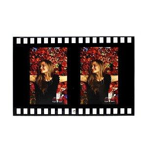 Porta Retrato de Vidro Filme 2 Fotos Vertical 10x15