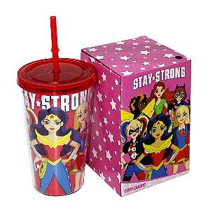 Copo Com Canudo Super Heroínas 500ml