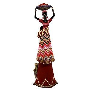 Enfeite Decorativo de Resina Mulher Africana