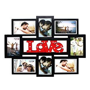 Quadro Love p/ 8 Fotos 15 LEDs