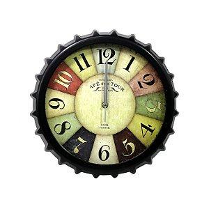 Relógio em Formato de Tampa de Garrafa 31cm