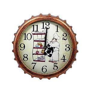 Relógio Tampa de Garrafa Cozinheiro 32cm