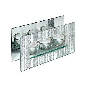 Castiçal de Vidro Espelhado