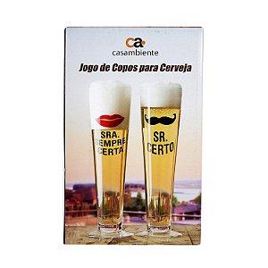 Jogo de Copos para Cerveja Mr & Ms 500ml