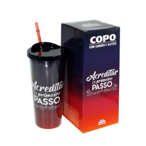 "Copo Glitter ""Acreditar"" 650ml"