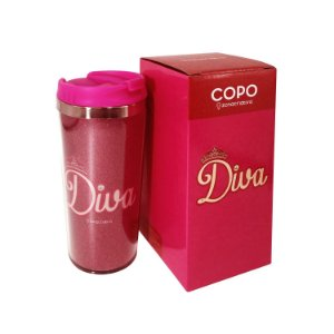 Copo Viagem Glitter Diva 450ml