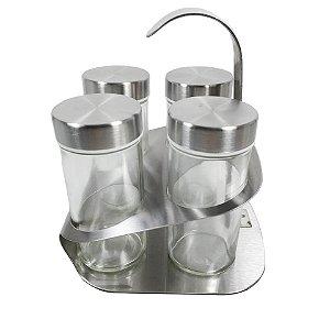 Kit Porta Condimentos 4 pçs com suporte aço Inox