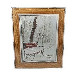 Porta Retrato de Vidro com Moldura de Madeira
