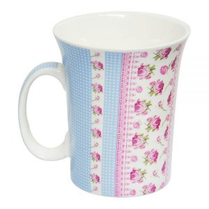 Caneca Linha Flores Romântica 320ml de porcelana