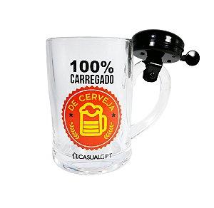 Caneca com Campainha 400ML 100% Carregado Causal Gift