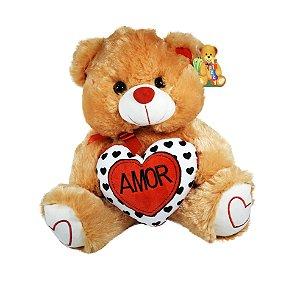 """Pelúcia Urso Com Coração 30cm """"Amor"""""""