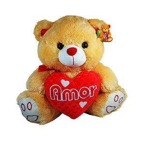 """Pelúcia Urso Com Coração 40cm """"Amor"""""""