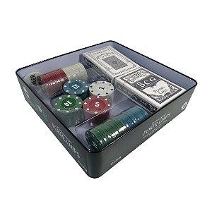 Poker Chips Jogo Com 100 Fichas + Dealer e duas Cartas de Baralho