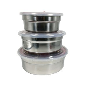 Conjunto 3 Potes de Inox com Tampa