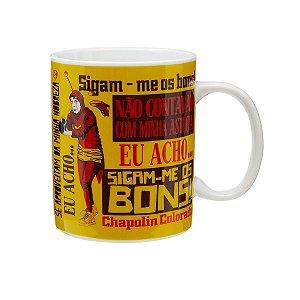 Caneca Porcelana CH Chapolin Frases FD Amarelo 300ml