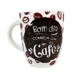 """Caneca """"Bom dia Começa com Café"""" 410ml"""