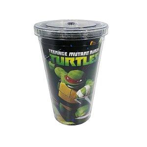 Copo de Plástico com Canudo 500ml Tartarugas