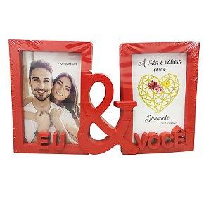 """Porta Retrato de Plástico P/2 Fotos """"Eu & Você"""" 10x15cm"""