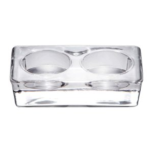 Porta Velas Lara Vidro Transparente Retangular para 2 Velas