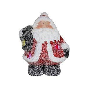 Enfeite de Cerâmica Papai Noel com Led