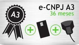 E-CNPJ A3 - SMART+LEITORA - CERTIFICADO 36 MESES
