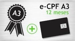E- CPF A3 - SMART - CERTIFICADO 12 MESES