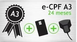 E- CPF A3 - SMART+LEITORA - CERTIFICADO 24 MESES