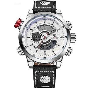 13e7880778 Relógio Masculino Weide Anadigi WH-3401-C Prata e Branco
