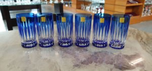 COPO LONG DRINK CRISTAL STRAUSS COR AZUL CX 6 PCS
