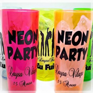 Copos Neon 350mL Estampado Arte Neon Party